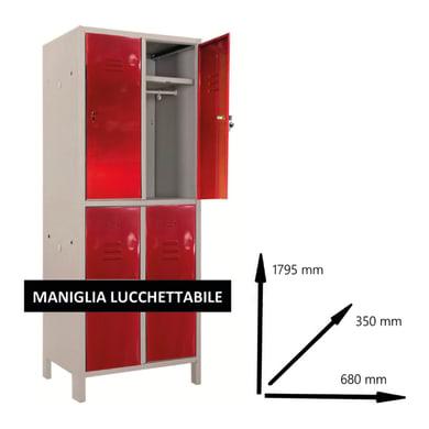 Armadio Spogliatoio Monoblocco L 68 x P 35 x H 179.5 cm grigio e rosso