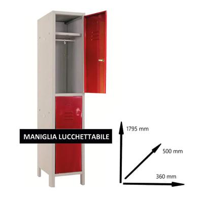 Armadio Spogliatoio Monoblocco L 68 x P 50 x H 179.5 cm grigio e rosso
