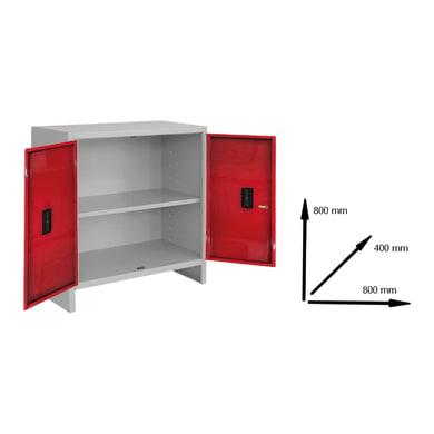 Armadio Pratiko L 80 x P 40 x H 80 cm grigio e rosso