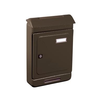 Cassetta postale ALUBOX formato Rivista, marrone , L 26.3 x P 7 x H 39.5 cm