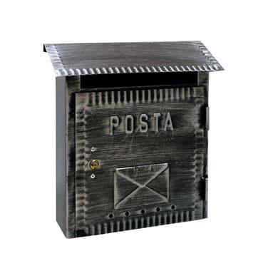 Cassetta postale ALUBOX formato Lettera, nero brunito, L 26 x P 10 x H 26.5 cm