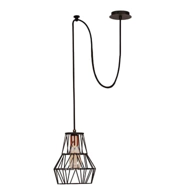 Lampadario Design Wire-Fall rame, nero in rame, L. 100 cm