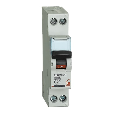 Interruttore magnetotermico BTICINO FC881C20 1P +N 20A 4.5kA C 1 modulo 230V