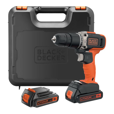 Trapano avvitatore a batteria BLACK + DECKER BCD003C2K 18 V, 1.5 Ah, 2 batterie