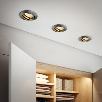 Set da 10 pezzi Faretto orientabile da incasso tondo Clane  in Alluminio nichel, diam. 8.2 cm GU10 10x6W IP23 INSPIRE