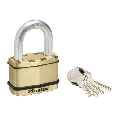 Lucchetto con chiave MASTER LOCK in acciaio dorato ansa H 49 x L 36 x Ø 11 mm