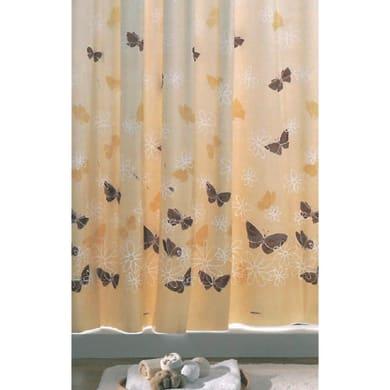 Tenda doccia Butterfly in vinile beige L 240 x H 200 cm