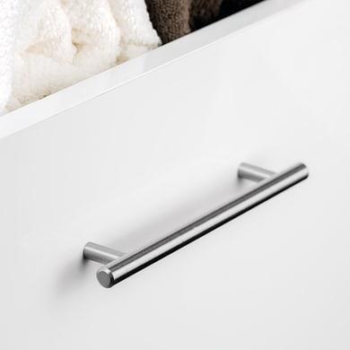 Maniglia per mobile in acciaio satinato Orlando EMUCA interasse 128 mm, 10 pezzi