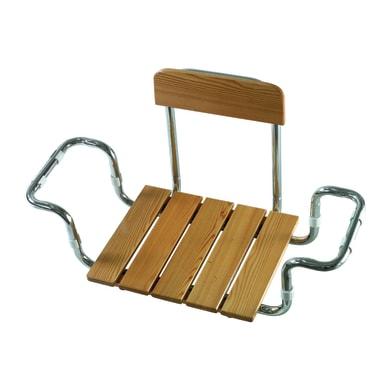 Sedile per vasca con schienale in larice cromato grigio