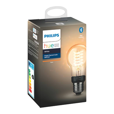 Lampadina Smart lighting Filamento LED Hue White Filament Lampadina A60 E27 9W bianco E27 7W = 550LM (equiv 7W) 150° PHILIPS HUE