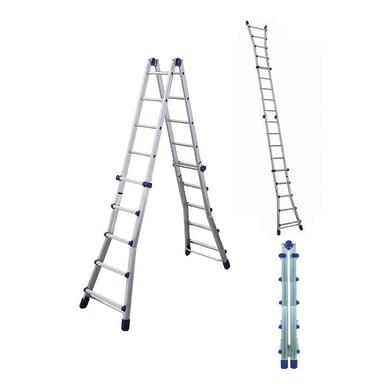 Scala telescopica FACAL Brikoblu in alluminio 5+5 gradini per lavori fino a 6.05 m