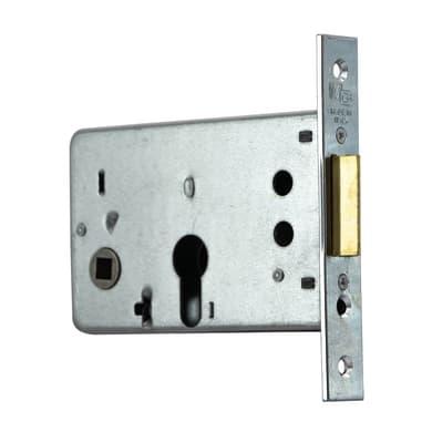 Serratura a incasso cilindro per porta garage o cantina, entrata 6.5 cm, interasse 43 mm sinistra e destra