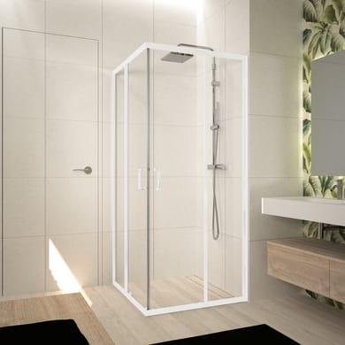 Box doccia rettangolare scorrevole Ocean 80 x 85 cm, H 195 cm in vetro temprato, spessore 5 mm trasparente bianco