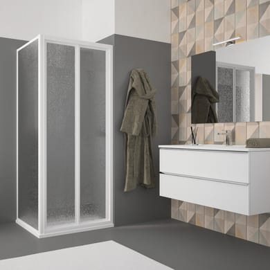 Box doccia angolare con porta pieghevole e lato fisso rettangolare Opale 90 x 70 cm, H 185 cm in acrilico, spessore 2.5 mm acrilico piumato bianco