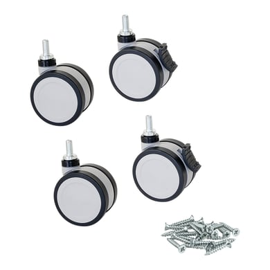 Rotella per mobili EMUCA Silent in plastica grigio Ø 50 cm 4 pezzi