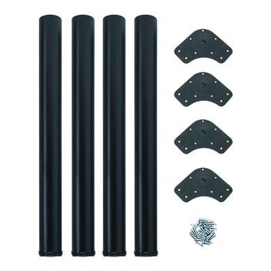 Gamba mobili EMUCA acciaio nero verniciato Ø 60 mm x H 73 cm 4 pezzi