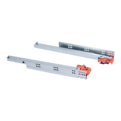 Guida di scorrimento per cassetto EMUCA a rulli chiusura soft grigio / argento 29 x 45  mm