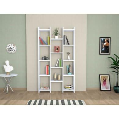 Libreria Teo 13 ripiani L 90 x P 22 x H 164 cm bianco