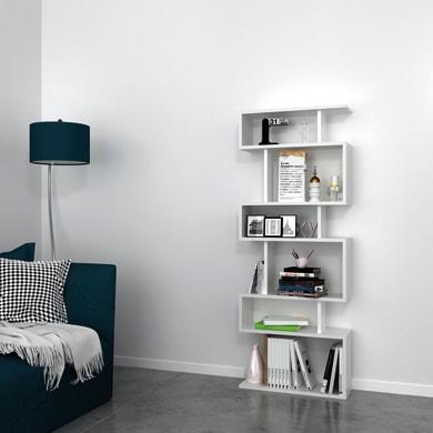 Libreria Tablero 6 ripiani L 60 x P 20 x H 156.6 cm bianco