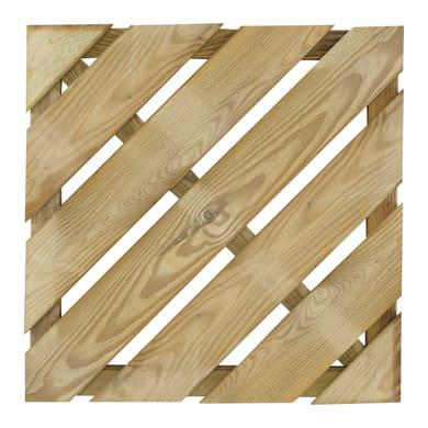 Piastrella Diagonale in legno pino 50 x 50 cm  Sp 38 mm,  marrone