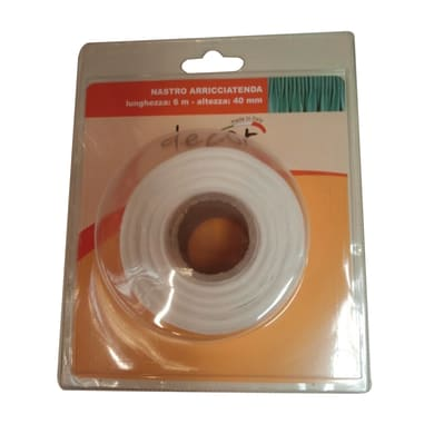 Nastro fettuccia per tenda bianco 3.8 cm x 6 m