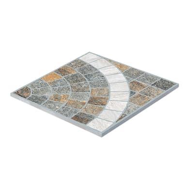 Gres porcellanato cubetti rosone carrara/grigio resistente al freddo 60 x 60 cm multicolore  0.72 mq