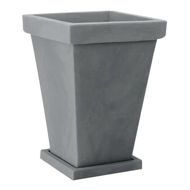 Vaso in plastica colore grigio antico H 40 cm, L 29 x P 29 cm