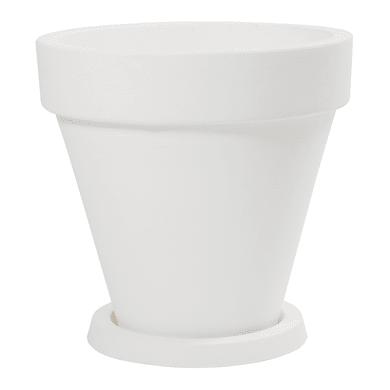 Vaso in plastica colore bianco H 33 cm, Ø 34 cm