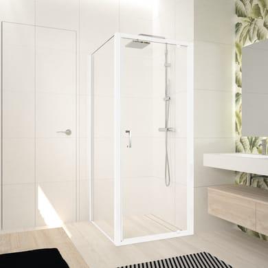 Box doccia angolare con porta a battente e lato fisso rettangolare Ocean 80 x 70 cm, H 195 cm in vetro temprato, spessore 5 mm trasparente bianco
