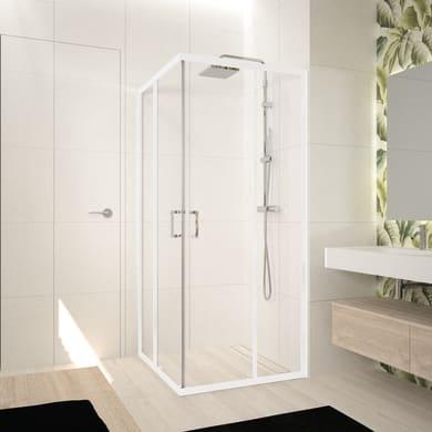 Box doccia rettangolare scorrevole Ocean 70 x 80 cm, H 195 cm in vetro temprato, spessore 5 mm trasparente bianco