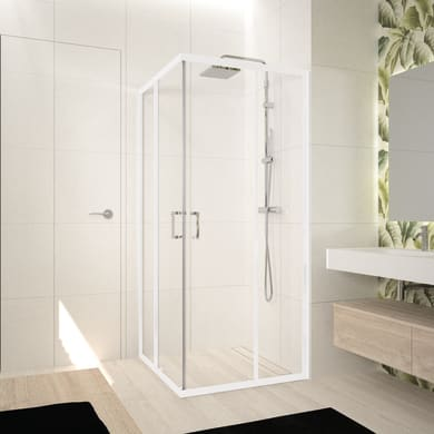 Box doccia rettangolare scorrevole Ocean 85 x 100 cm, H 195 cm in vetro temprato, spessore 5 mm trasparente bianco