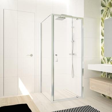 Box doccia angolare con porta a battente e lato fisso quadrato Ocean 90 x 80 cm, H 195 cm in vetro temprato, spessore 5 mm trasparente argento