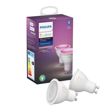 Set di 2  lampadine LED, HUE COLOR BLUETOOTH, GU10, Faretto, Trasparente, RGB, 6.5W=350LM (equiv 50 W), 43° , PHILIPS HUE
