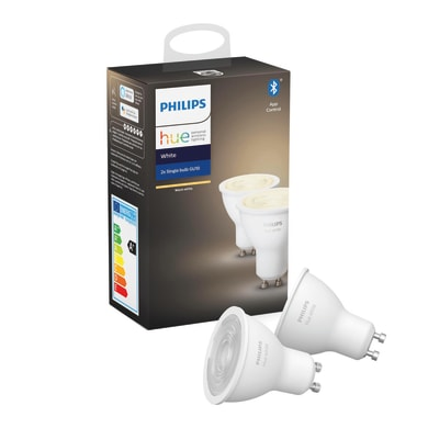 Set di 2  lampadine LED, HUE WHITE BLUETOOTH, GU10, Faretto, Trasparente, Luce calda, 5.5W=400LM (equiv 50 W), 42° , PHILIPS HUE