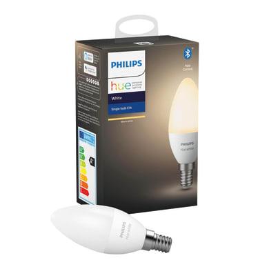 Lampadina smart lighting LED, E14, Oliva, Opaco, Luce calda, 5.5W=470LM (equiv 40 W), 150° , PHILIPS HUE