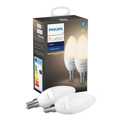 Lampadina collegato LED, HUE WHITE BLUETOOTH, E14, Oliva, Opaco, Luce calda, 6W=470LM (equiv 40 W), 150° , PHILIPS HUE