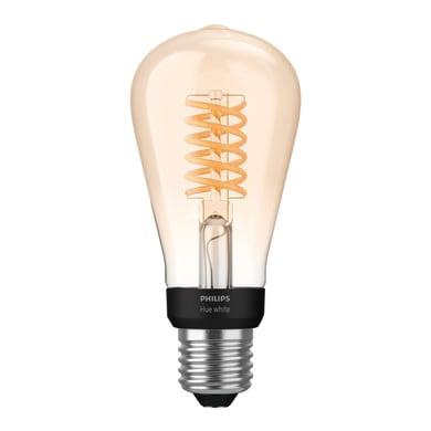 Lampadina smart lighting LED, HUE FILAMENT BLUETOOTH, E27, Goccia, Trasparente, Luce calda, 7W=550LM (equiv 70 W), 150° , PHILIPS HUE