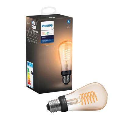 Lampadina collegato LED, HUE FILAMENT BLUETOOTH, E27, Goccia, Trasparente, Luce calda, 7W=550LM (equiv 70 W), 150° , PHILIPS HUE