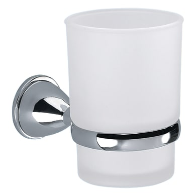 Bicchiere porta spazzolini Genziana in vetro grigio