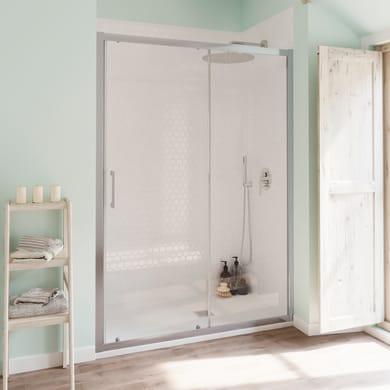 Porta doccia scorrevole Bilbao 170 cm, H 190 cm in vetro temprato, spessore 6 mm trasparente cromato