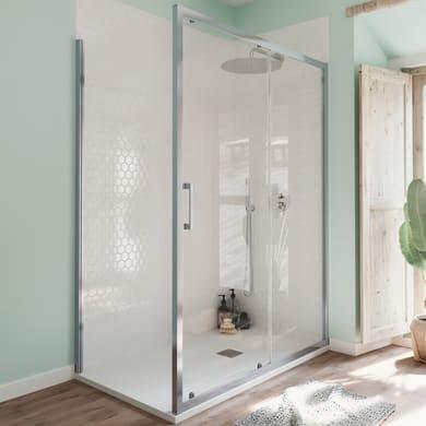 Box doccia angolare porta scorrevole e lato fisso rettangolare Bilbao 140 x 70 cm, H 190 cm in vetro temprato, spessore 6 mm trasparente cromato