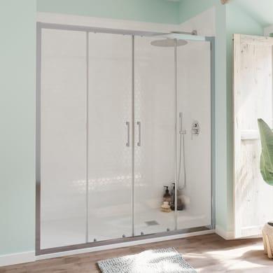 Porta doccia scorrevole Bilbao 180 cm, H 190 cm in vetro temperato, spessore 6 mm trasparente cromato