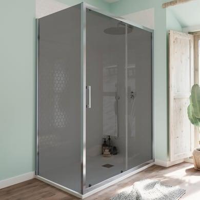Box doccia angolare porta scorrevole e lato fisso rettangolare Bilbao 120 x 80 cm, H 190 cm in vetro temprato, spessore 6 mm fumé cromato