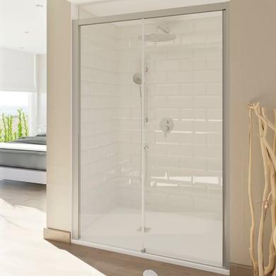 Porta doccia scorrevole Style 120 cm, H 200 cm in vetro temperato, spessore 8 mm trasparente satinato