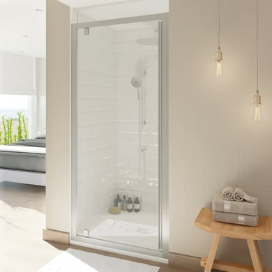 Box doccia angolare con porta a battente e lato fisso quadrato Style 90 x 90 cm, H 200 cm in vetro temprato, spessore 8 mm trasparente argento