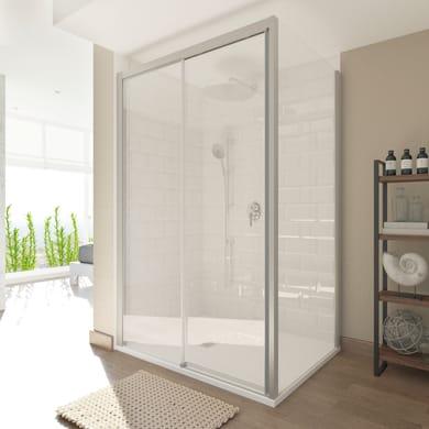 Box doccia angolare porta scorrevole e lato fisso rettangolare Style 140 x 90 cm, H 200 cm in vetro temprato, spessore 8 mm trasparente argento