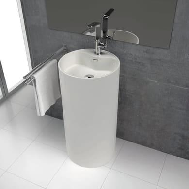 Lavabo Skin in Solid Surface tondo L 45 x in resina e marmo bianco