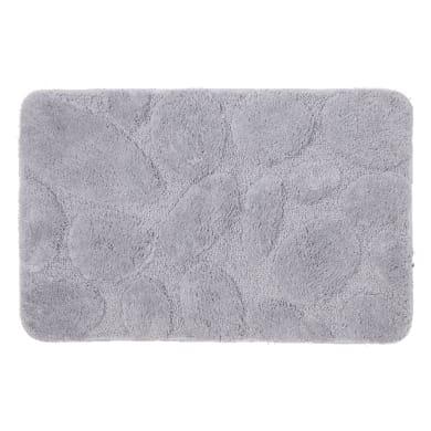 Tappeto bagno rettangolare Pebbles in 100% poliestere grigio 80 x 50 cm