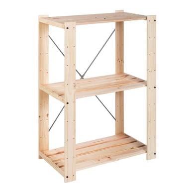 Scaffale in legno in kit Evolution 3 ripiani L 76.7 x P 43 x H 111 cm naturale