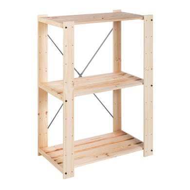 Scaffale in legno in kit Evolution L 76.7 x P 43 x H 111 cm naturale